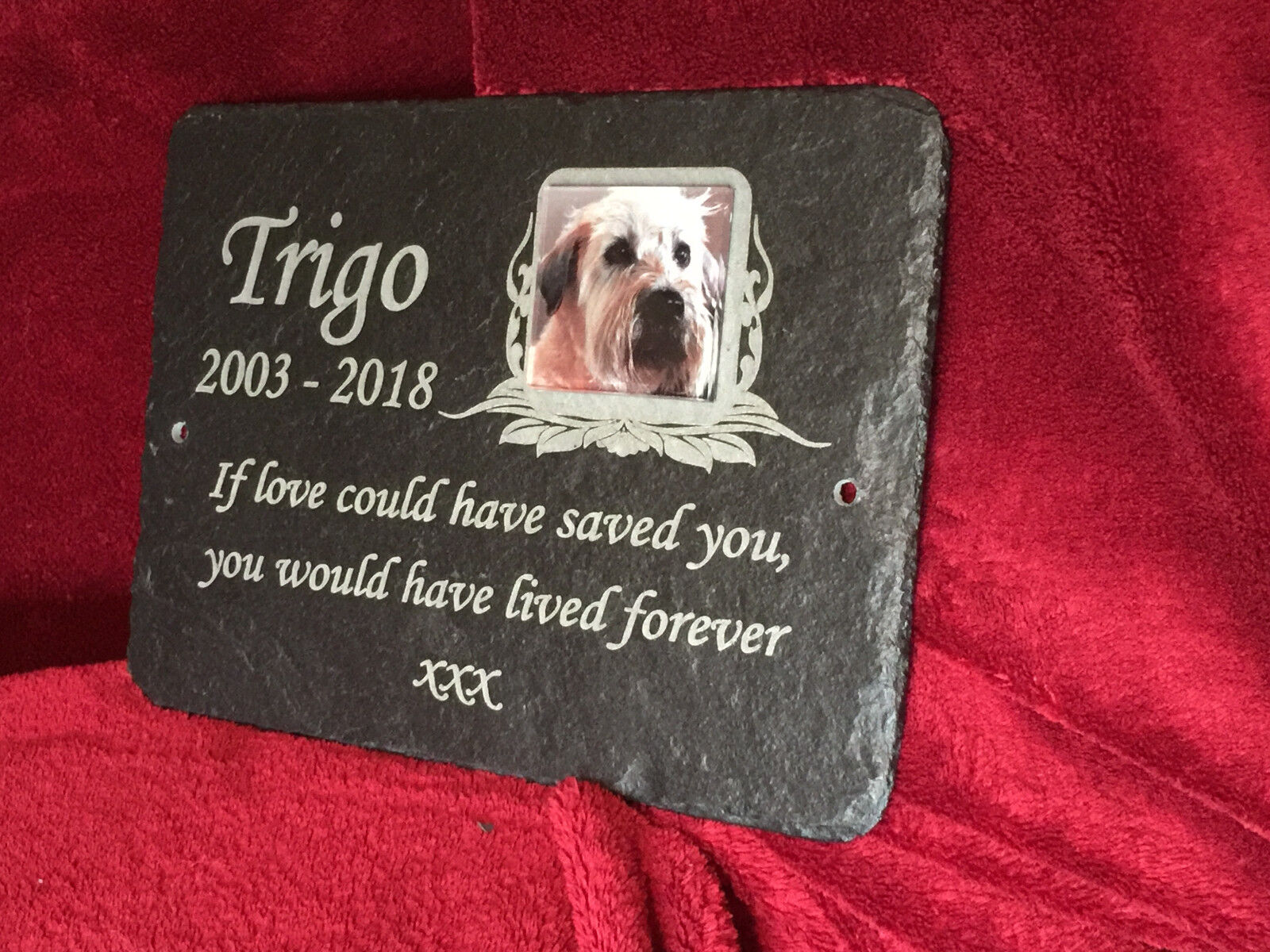 Hand Made Pet Photo Memorial Slate Plaque Grave Marker - Add Message & Photo