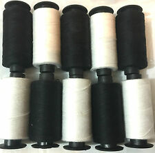 10 x Cotton Spools 5 BLACK + 5 WHITE Sewing Thread Spools NEW COLLECTION