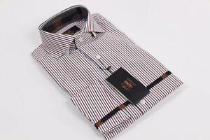 NWT-Verse-9-British-Spread-Collar-amp-French-Cuff-Black-amp-Rust-Stripe-Dress-Shirt