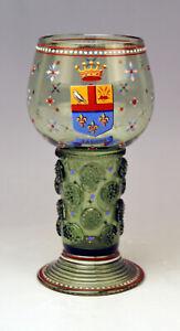 LOBMEYR-WIEN-WEIN-GLAS-ROMER-EMAILMALEREI-WAPPEN-GLASS-VINTAGE-VIENNA-UM-1910