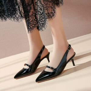 New-Ladies-Slingbacks-Kitten-Heels-Pointy-Toe-Pumps-Buckle-Spring-Casual-Shoes