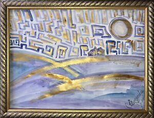 ORIGINAL-Malerei-A3-PAINTING-zeichnung-Margarita-Bonke-landscape-Landschaft-art