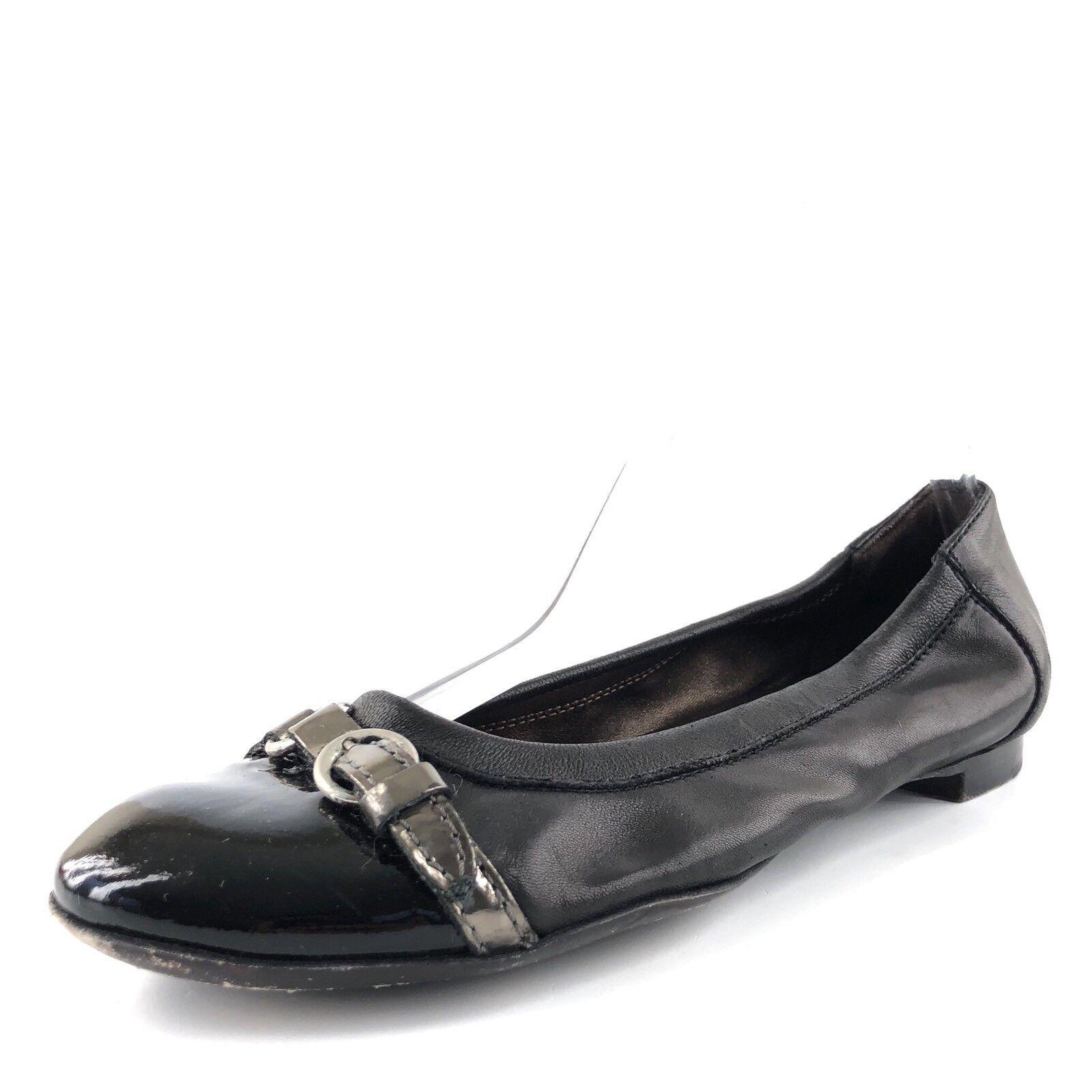 AGL Attilio Giusti Leombruni Womens Black Leather Toe Cap Ballet Flats Size 37.5