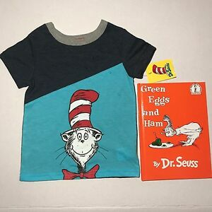 4df62e04 CAT IN THE HAT BOYS SHIRT WITH GREEEN EGGS AND HAM BOOK