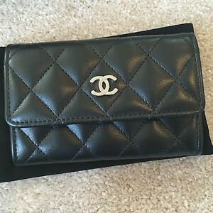 0967b4bc764e48 Chanel Classic Quilted Lambskin Snap Button Card Holder Black Silver ...