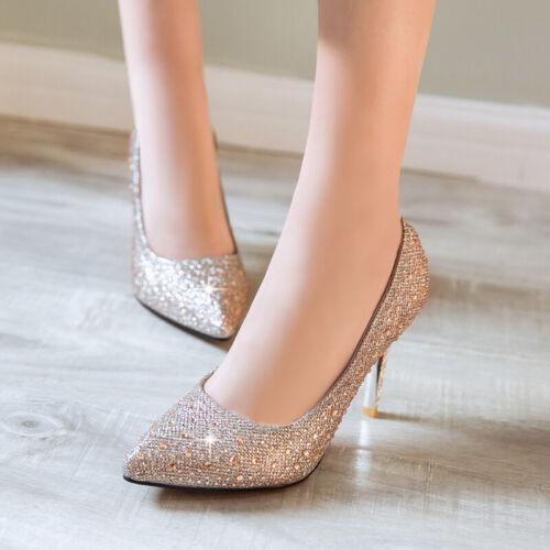 Ladys Bling-Bling Pumps Elegant Wedding Womens Shoes High Heels Cockktail Shoes