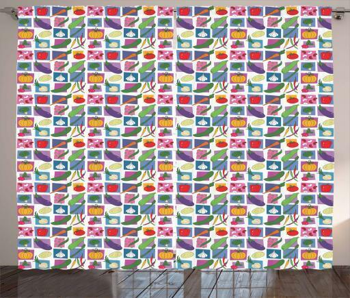 Fresh produce Cortinas 2 Panel Decoración conjunto 5 tamaños de ventana Cortinas