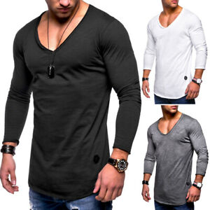 Herren-Longsleeve-Polo-T-Shirt-Pullover-Sweatshirt-Langarm-Shirt-V-Neck-NEU