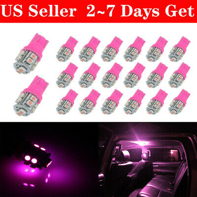 20X Purple Pink T10 10SMD LED Dome Map Interior Light Bulbs 2825 158 168 192 194
