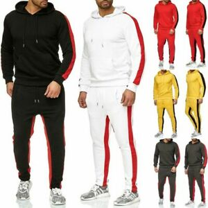 Mens Tracksuit    Set Hoodie Top Bottoms Jogging Suit Sweat Gym