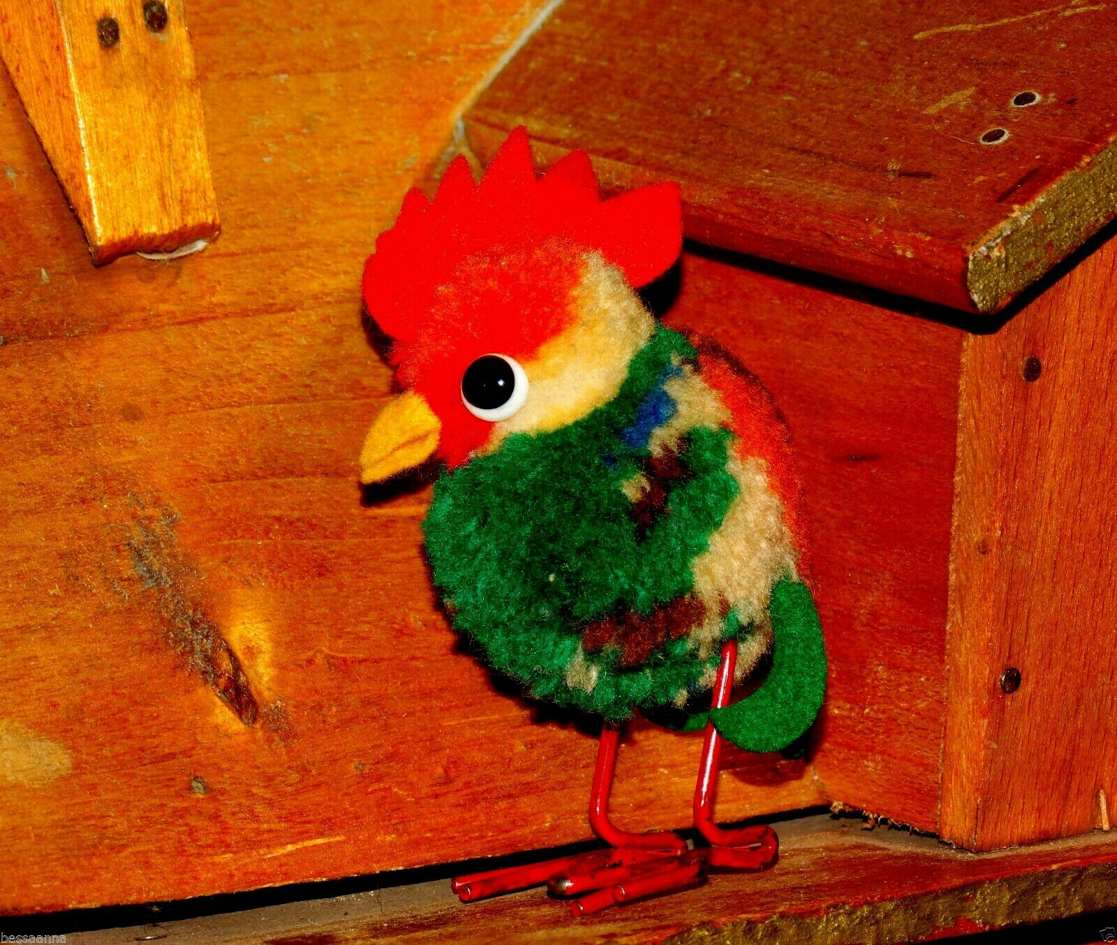1950s Vintage 3.25 H Vogel Steiff Rooster Wool Pom Pom 1508,47 Bird TS11211230