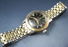 Vintage Zodiac Seawolf Stainless Steel 10k Gold Automatic Mens Watch 1960 RARE