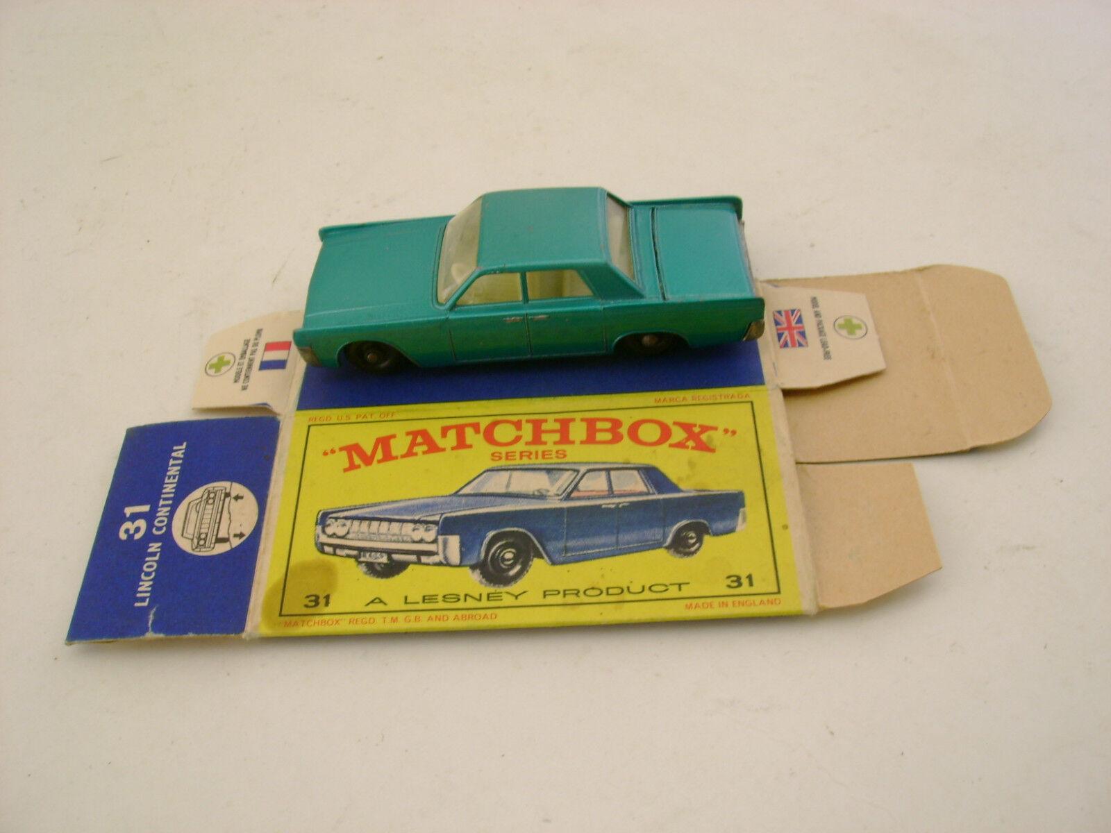 MATCHBOX LESNEY blueE LINCOLN CONTINENTAL BPW-R A WITH ORIGINAL BOX