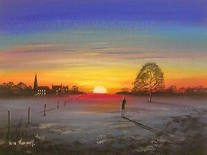 Pete-Rumney-Art-Original-Canvas-Painting-Follow-The-Sun-Home-Sunset-Village
