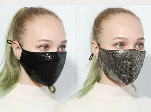 12Pc Polyester Cotton Breathable Filter Anti-Haze Protective Face Fashion Sequin