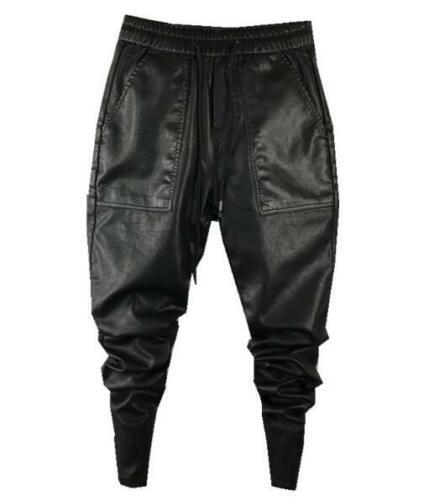 Mens PU Leather Baggy Loose Slim Feet Elastic Waist Black Trousers Pants SZ C133
