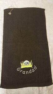 Golf-Bowls-Cricket-design-TOWEL-with-Hook-Embroidered-Personalised-Curved-Name
