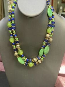 """Women's Ladies Necklace 40"""" Royal Blue Green Beads  Gold Layered Sweater Length"""