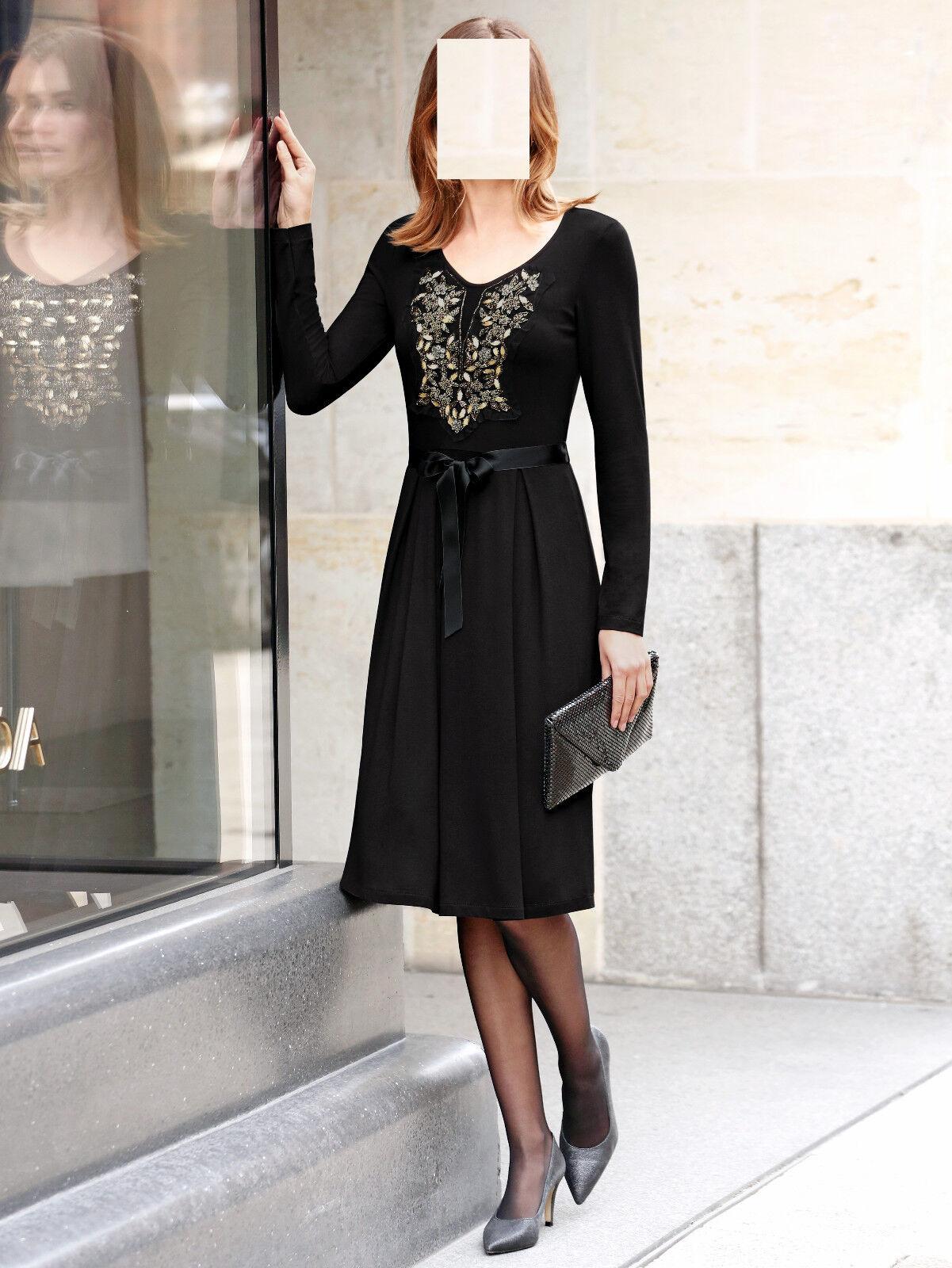 Marken Jersey Kleid schwarz mit Perlendekoration  Gr. 48 0518723914