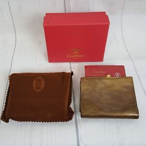 759e054d08f Image is loading Must-de-Cartier-Gold-Tone-Calfskin-Leather-Wallet-
