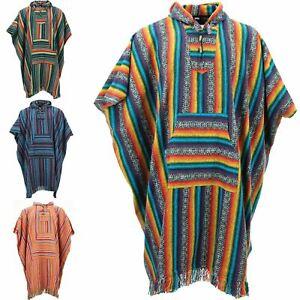 Poncho-Hooded-Cape-Cotton-Warm-Festival-Long-Woven-Rainbow-Men-Women
