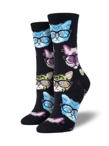 Crew Socks Cat kitten with Glasses Shoe Size 6-12 Smart Kitty Nerdycat Fun Sock