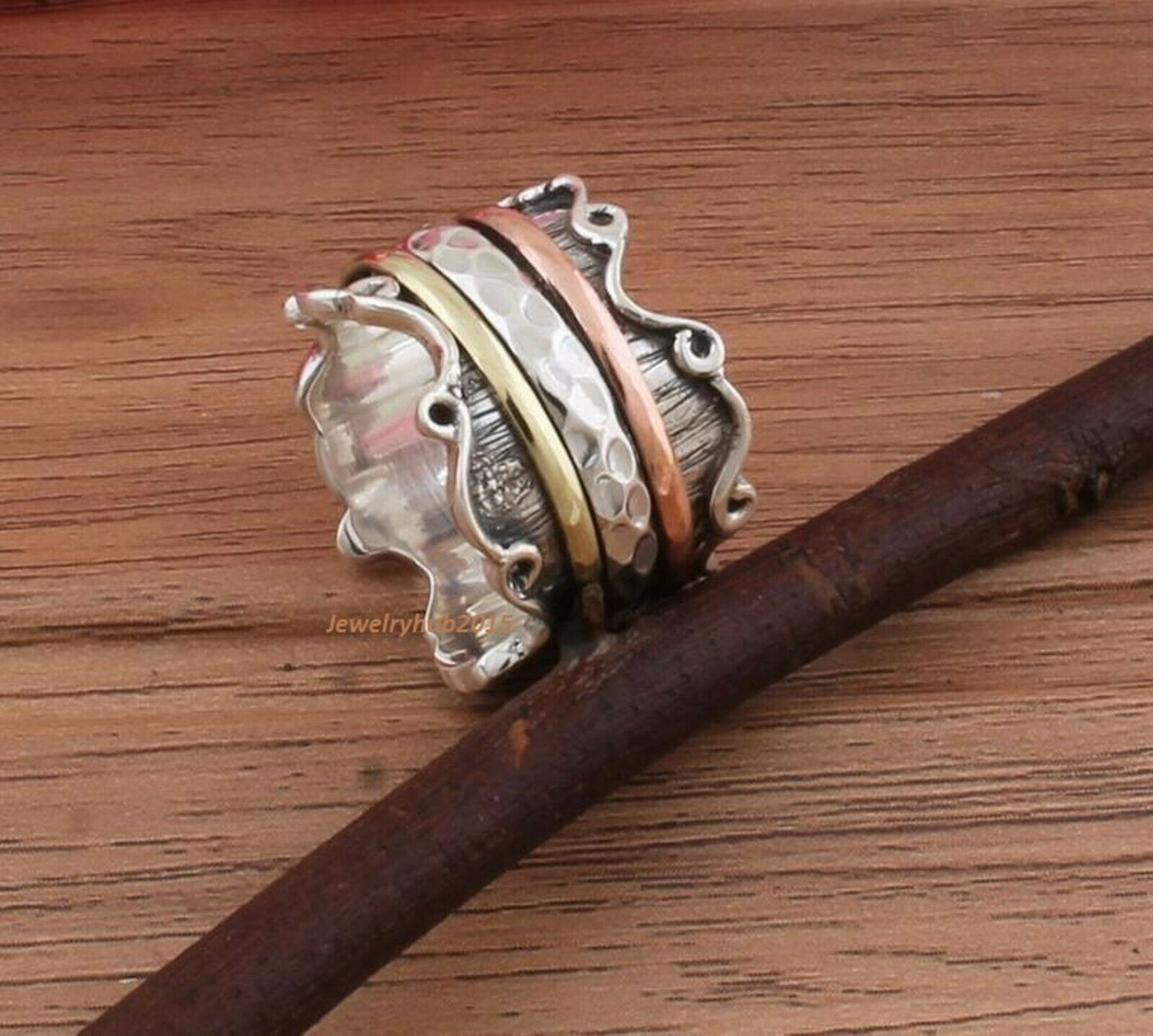 Spinner Beautiful Ring 925-Sterling Solid Silver Ring Thumb Ring One Tone Brass,One Tone Copper,With Silver Spinner Ring Three Tone Ring