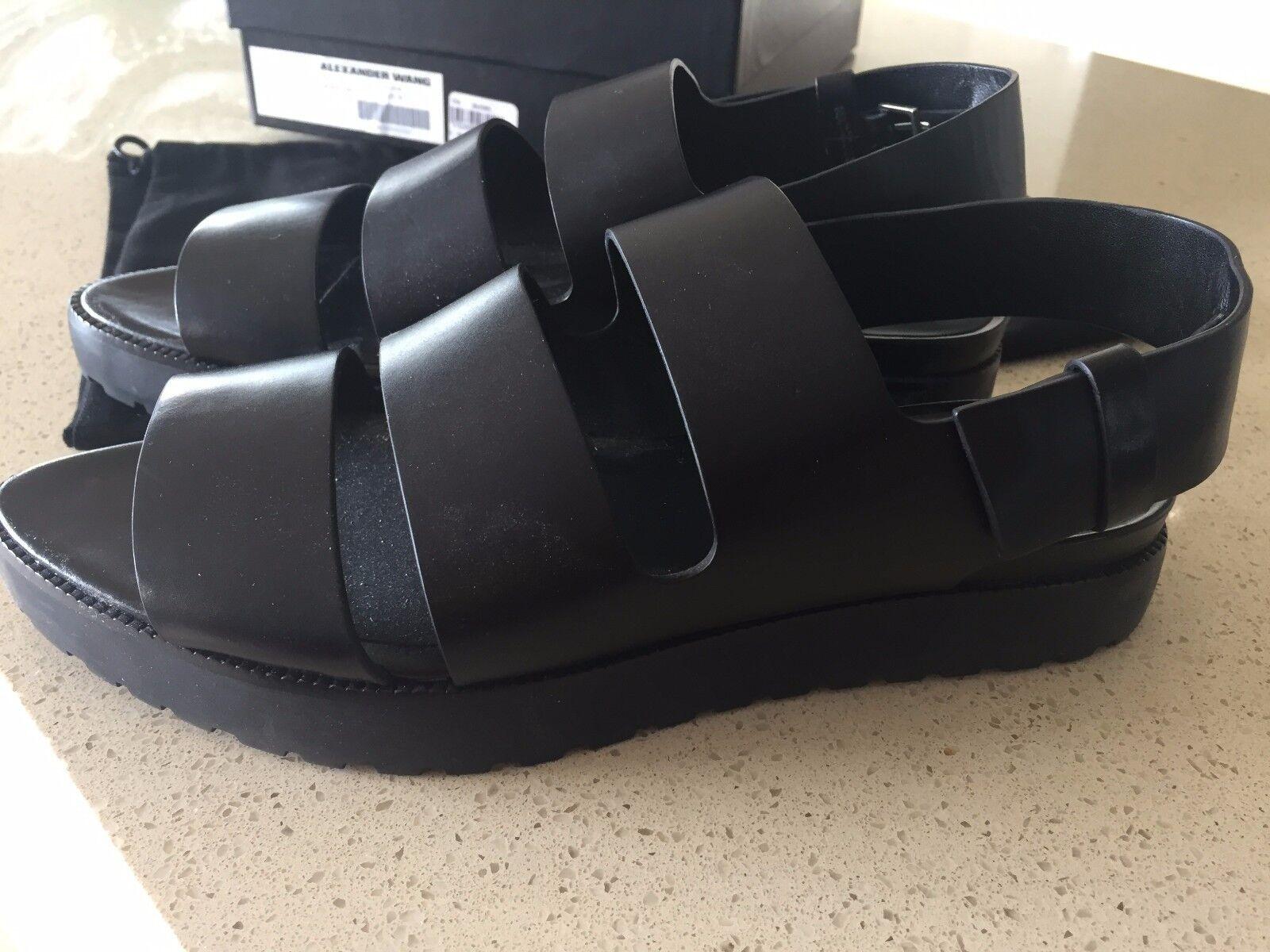 Alexander Wang nueva era  'Alisha' Sandalias De Cuero Negro 38 con caja y zapatosbag