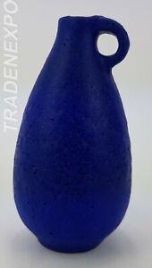 Vintage-1960-1970-039-s-Small-WEST-GERMAN-POTTERY-Blue-Vase-Fat-Lava-Era-Mid-Century