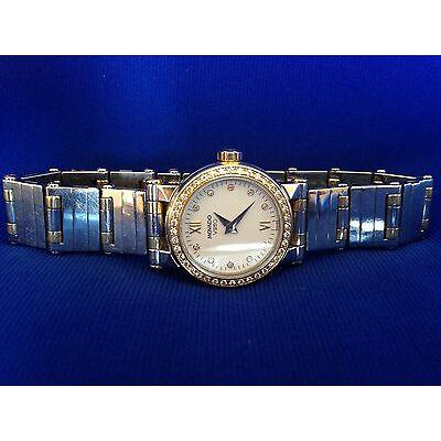 Movado Vizio Ladies Two Tone Stainless Steel & 18Kt Gold Quartz Watch