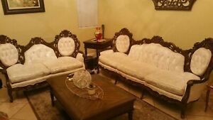 Details about Antique Solid Hardwood Hand Carved Italian Sofa Set Sofa  Loveseat Victorian rare