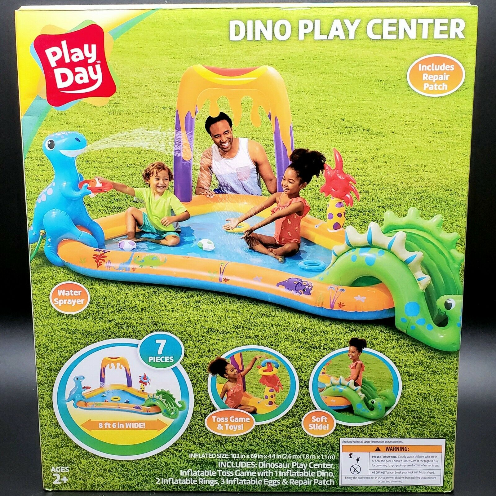 Play Day Dino Play Center Inflatable Pool Water Sprayer Slide Toss Game NEW