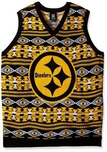 online retailer ff4d3 026f0 Details about Cool! New Licensed Pittsburgh Steelers Christmas Ugly Sweater  Vest Size M __S68