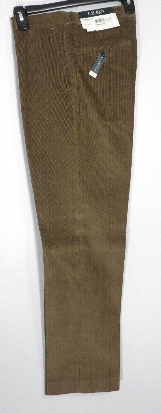 Ralph Lauren LRL Mens Tan Flat Front Corduroy Pants Size 30x30   PN303
