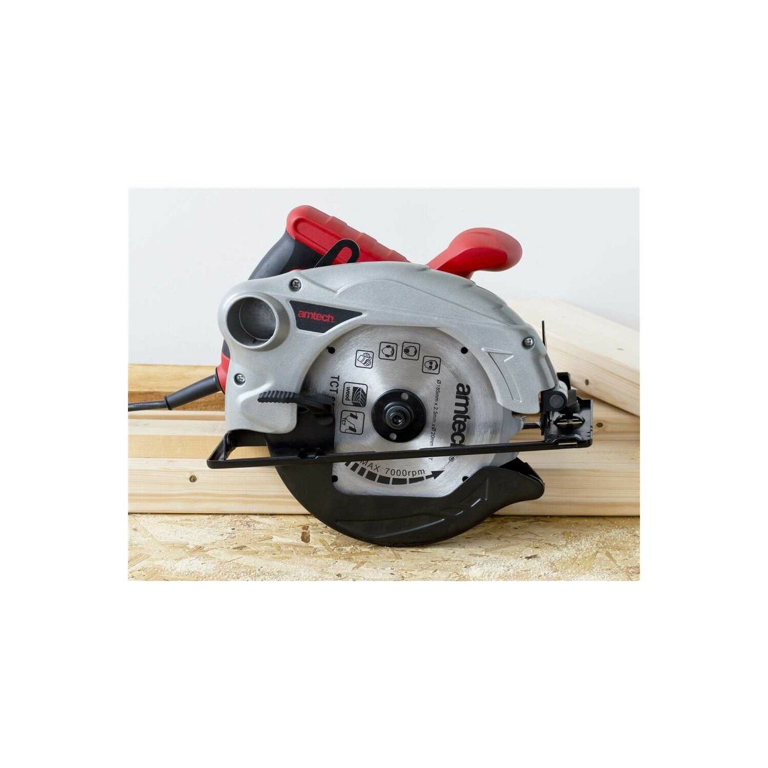 1300W CIRCULAR SAW 185MM 230V 230V 230V 0-45° BEVEL + 24T BLADE CUTTING HEAVY DUTY AMTECH cf4a75