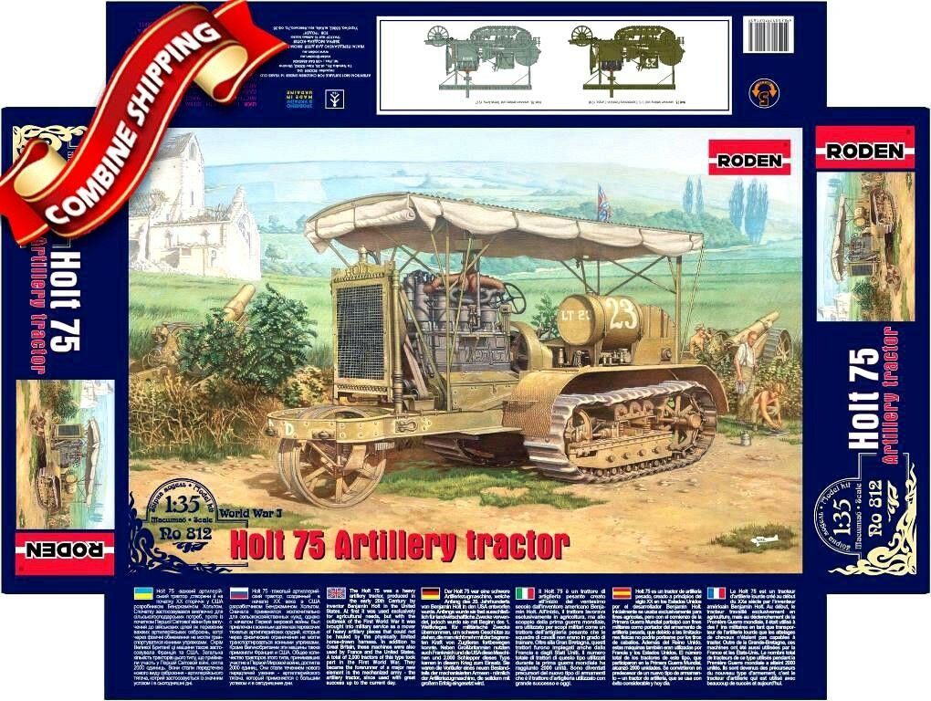 Roden 812 WWI Holt 75 Artillery Tractor U.S. Expeditionary Forces in Europe 1 35