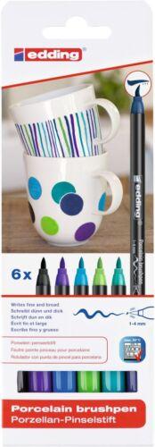 6 Stück edding 4200 Porzellanstifte Pinselstift-Set Cool farbsortiert