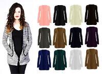 New Womens Long Sleeve Pocket Ladies Stretch Open Boyfriend Cardigan Top 8-14