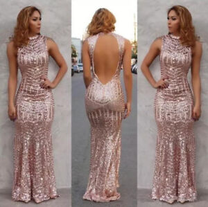 a1369009 New Rose Gold Mermaid Evening Dresses Open Back Long Prom Party Gown ...