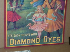 DIAMOND DYE CABINET TIN Door SIGN - Shows Lady & Children - MAYPOLE or GOVERNESS