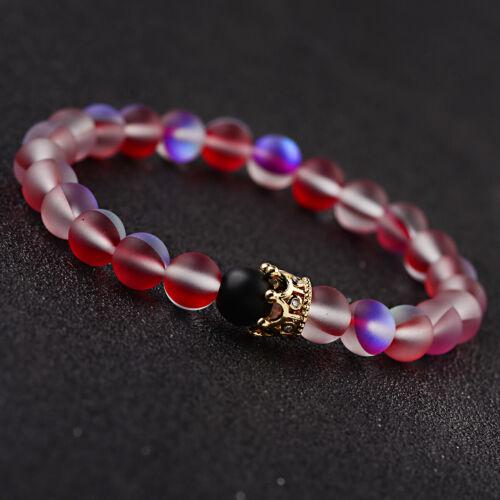 Mystic aura QUARTZ perles 8 mm Rouge PIERRE NATURELLE Crown hommes femmes Couples Bracelets