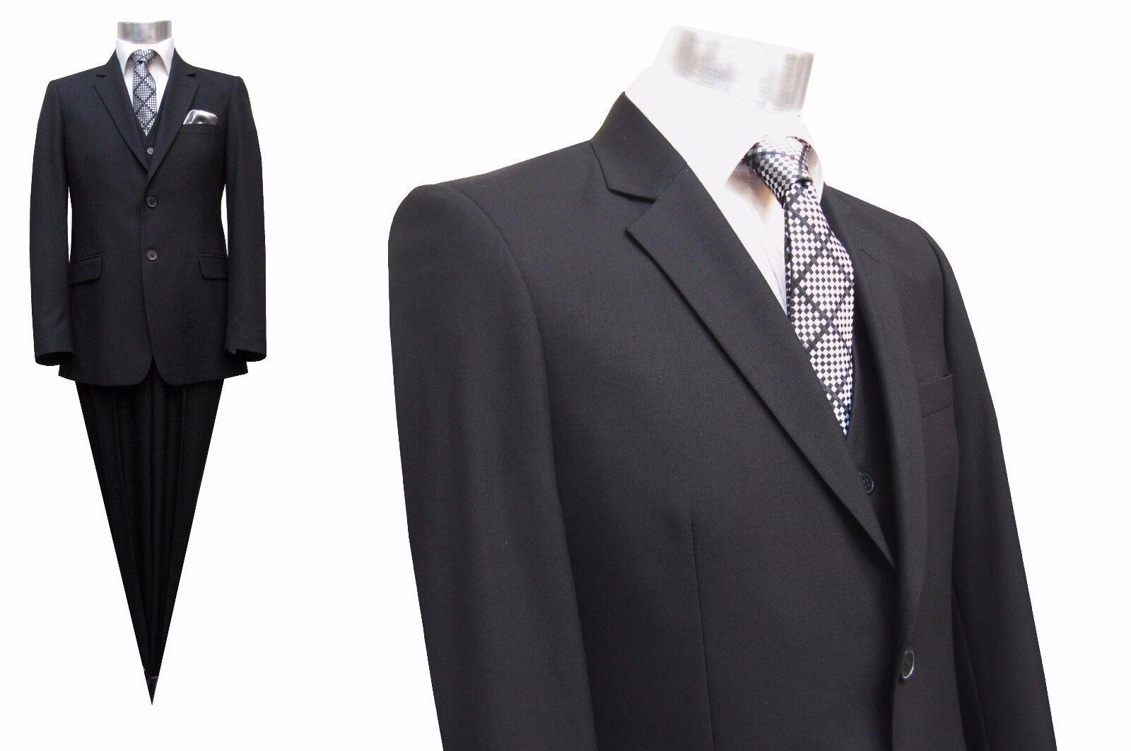 Herren Anzug mit Weste Elegant Gr.72 Schwarz
