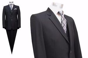 Herren-Anzug-mit-Weste-Elegant-Gr-25-Schwarz