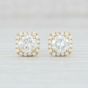 New-2-09ctw-Diamond-Halo-Earrings-14k-Yellow-Gold-Pierced-Studs