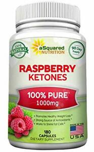 100% Pure Raspberry Ketones 1000mg - 180 Capsules - All Natural Weight Loss