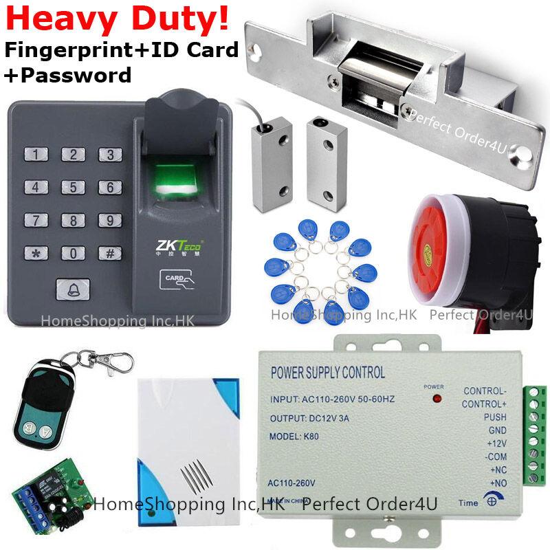 Puerta De Tarjeta Rfid Huella Dactilar + sistema de control de acceso + Sensor De Puerta Puerta huelga + + Sirena
