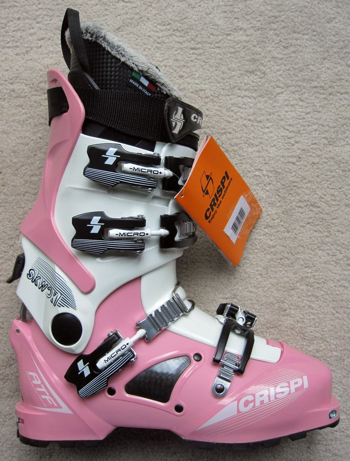 NEW CRISPI SKWO L 4 WHITE PINK ATF (ALPINE TOURING FREERIDE) BOOTS - 26.0