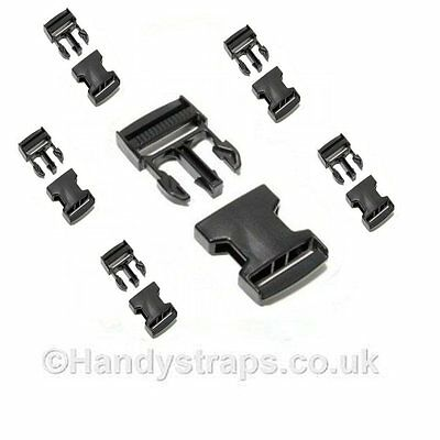 6 x 20mm Black Plastic Side Release Buckles for webbing  Quick Release Buckles