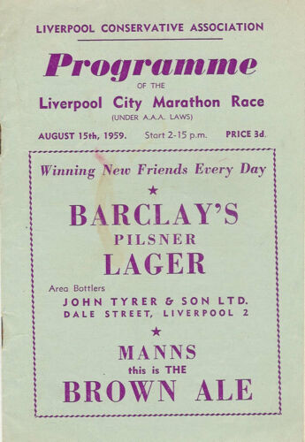 LIVERPOOL CITY MARATHON ATHLETICS PROGRAMME 15 Aug 1959