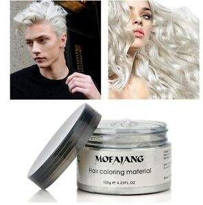 Silver Gray Hair Color Gel Wax Mud Dye Natural Hairstyle Styling Men